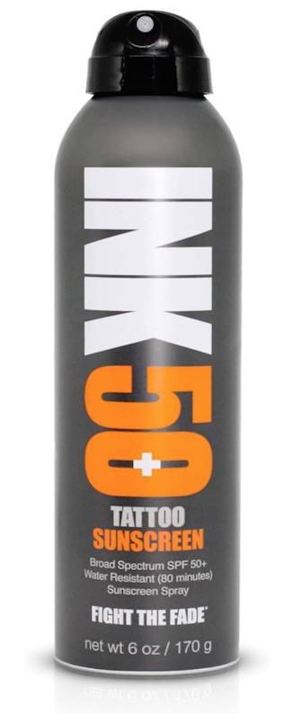 A can of Ink Tattoo Sunscreen Spray SPF 50