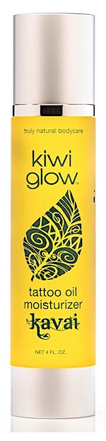 Bottle of Kiwi Glow tattoo oil moisturizer - Tattoo brightener