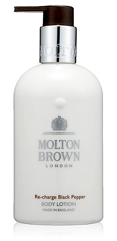 Bottle of Molton Brown Re-Charge Black Pepper body wash for men