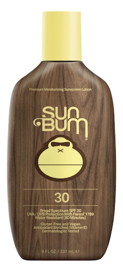 A bottle of Sun Bum sunscreen