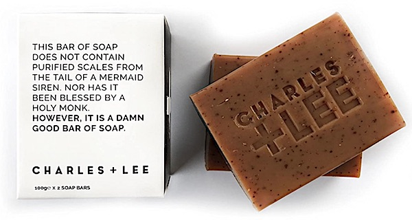 2 bars of Charles + Lee macchiato scented soap