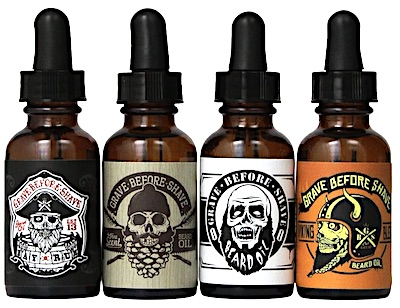4 bottles of Grave Before Shave beard oil - variety pack