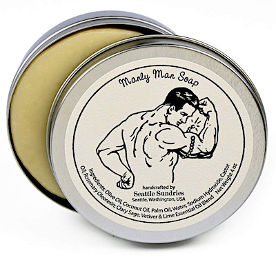 Seattle Sundries Manly Man bar soap in a tin