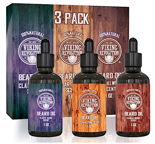 3 pack of Viking Revolution beard oil