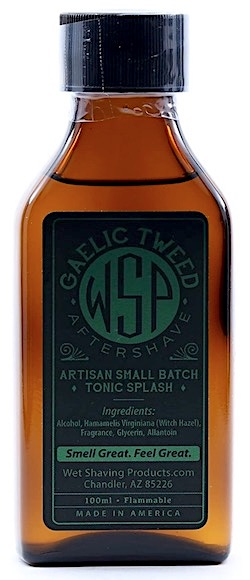 Bottle of Wet Shaving Products aftershave splash - Gaelic Tweed scent
