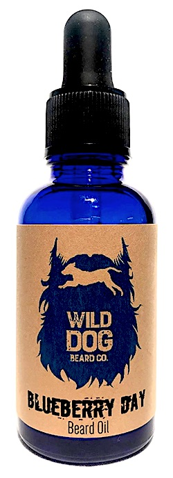 Bottle of Wild Dog Beard Co. beard oil - Blueberry Day scent