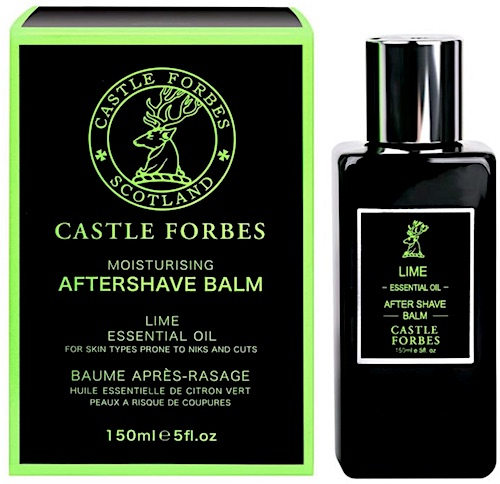 Bottle of Castle Forbes Lime scented aftershave balm