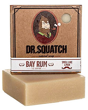 Bar of Dr. Squatch Bay Rum scented bar soap for men