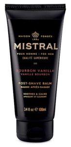 Bottle of Mistral Bourbon Vanilla aftershave balm
