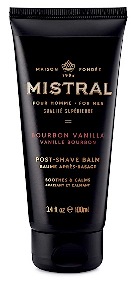 Bottle of Mistral Bourbon Vanilla aftershave balm