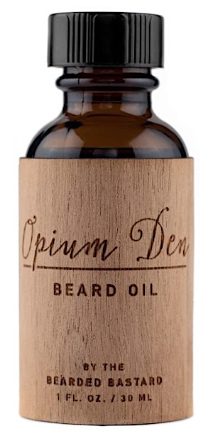 A bottle of The Bearded Bastard beard oil