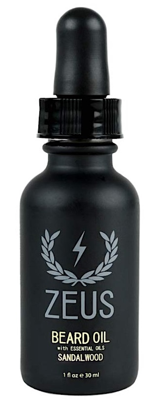 A bottle of Zeus Beard Oil - Sandalwood scent
