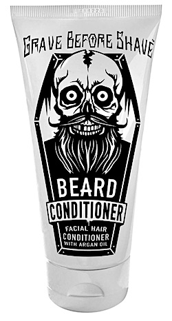 A bottle of Grave Before Shave beard conditioner
