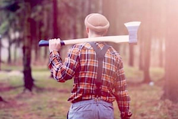 A lumberjack wearing suspenders