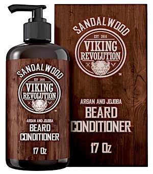 A bottle of Viking Revolution beard conditioner