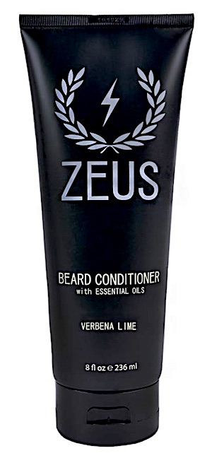 A bottle of Zeus beard conditioner