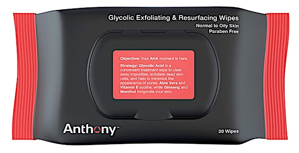 Anthony glycolic best face wipes for men. 30 count package.