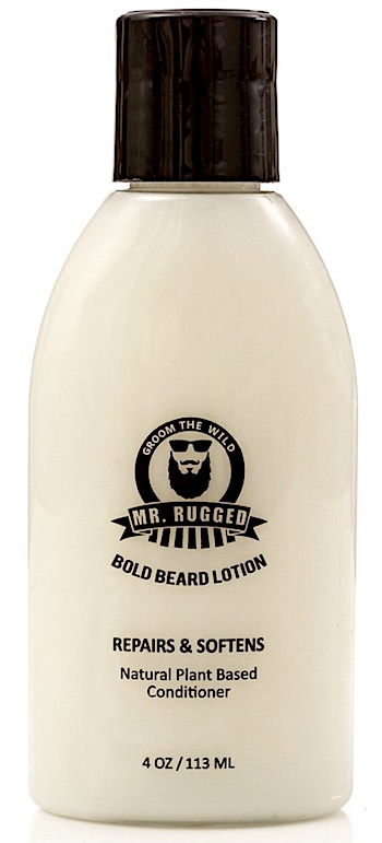Bottle of Mr. Rugged leave-in beard conditioner lotion