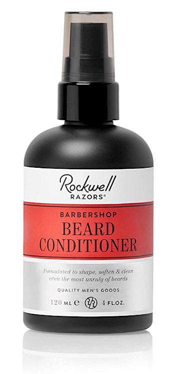 A bottle of Rockwell leave-in Beard Conditioner