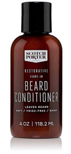 A bottle of Scotch Porter leave-in beard conditioner