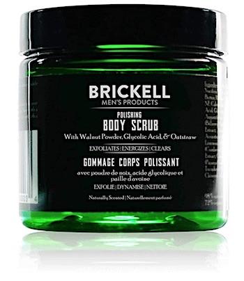 Jar of Brickell Polishing body scrub for men.