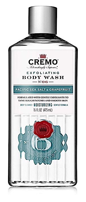 Bottle of Cremo exfoliating body wash for men.