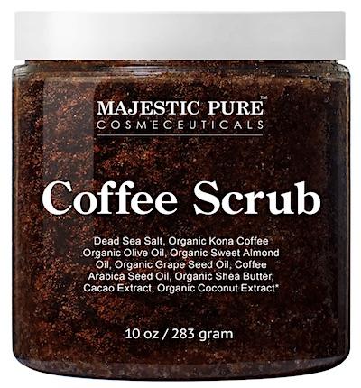 Jar of Majestic Pure Arabica Coffee Scrub.