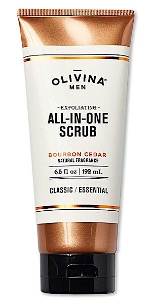 Bottle of Olivina all-in-one body scrub for men.