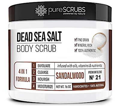 Jar of PureScrubs Dead Sea Salt body scrub - Sandalwood scent.
