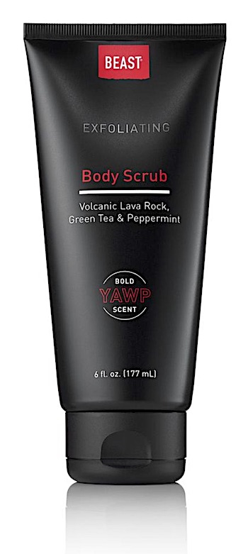 Bottle of Tame the Beast exfoliating body scrub for men.