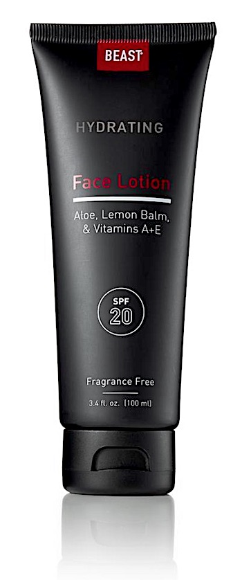 Bottle of Tame the Beast face lotion with SPF 20 for men