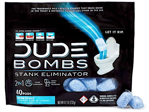 Package of Dude Bombs odor eliminator tablets