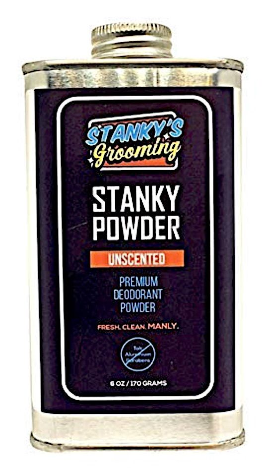 Tin bottle of Stanky's Grooming body powder for men