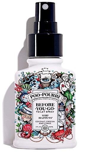 Spray bottle of Poo-Pourri Ship Happens toilet spray.
