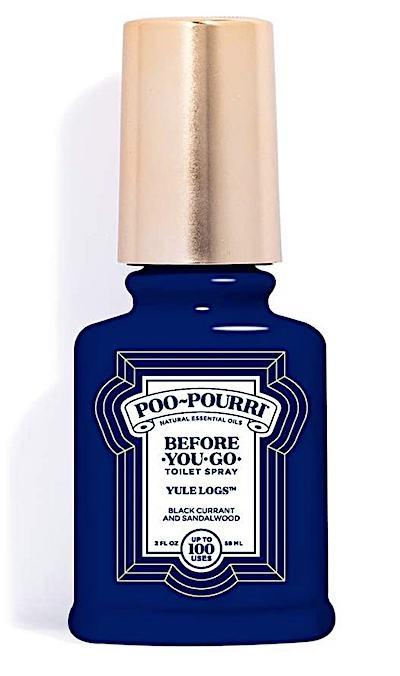 Spray bottle of Poo-Pourri Yule Logs scent.