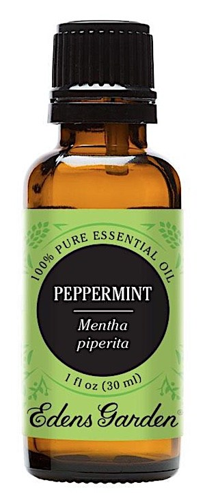 Bottle of peppermint essential oil for beard growth and health.