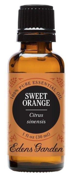 Bottle of sweet orange essential oil for DIY beard oil.