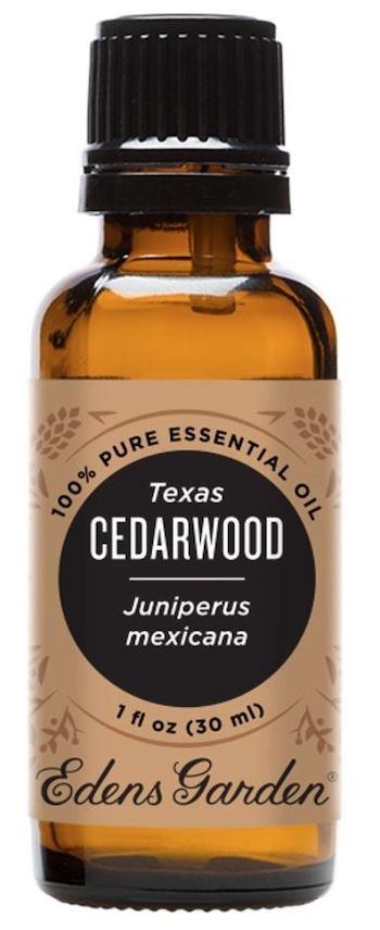 A bottle of Texas cedarwood essential oil