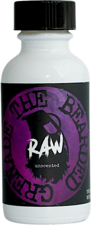 Bottle of The Bearded Grenade RAW unscented beard oil.