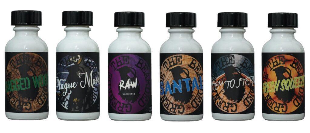 6 bottles (scents) of The Bearded Grenade beard oil.
