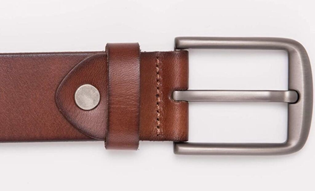Bullko casual leather belt for men in brown leather finish