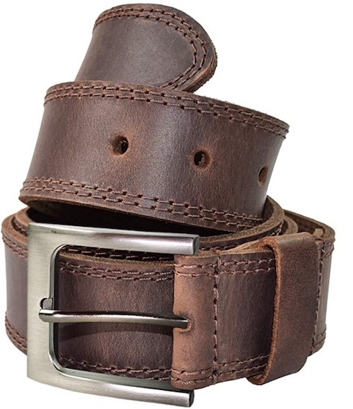 Hide & Drink Two Row stitch casual leather belt for men in brown leather