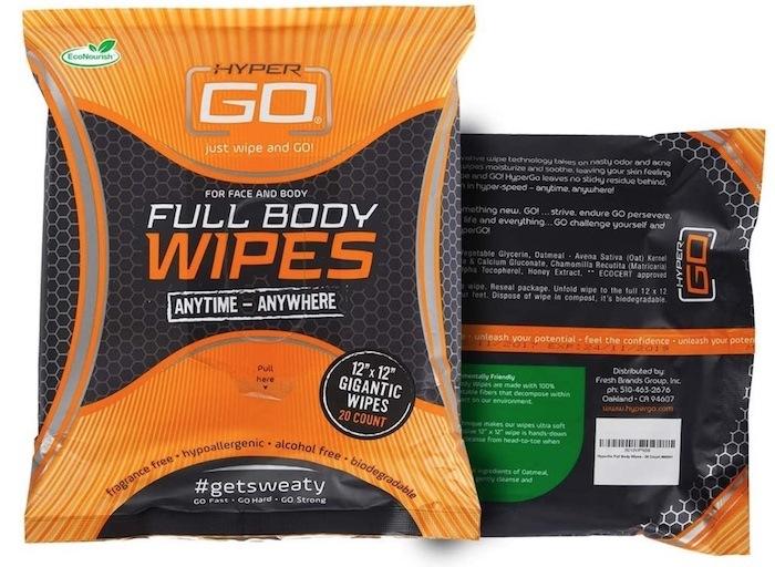 Package of HyperGo Full Body wipes for men.