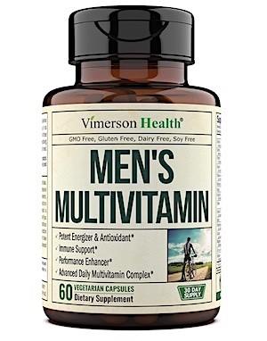 A bottle of Vimerson Health multivitamin for men.